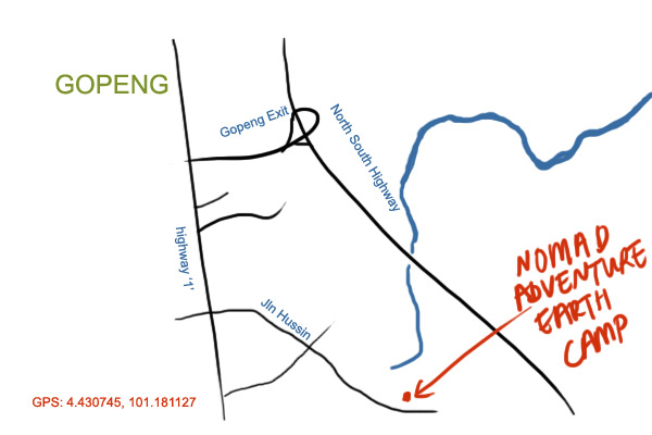 map to Nomad Adventure Earth Camp at Gopeng, Perak