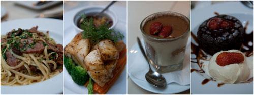 aglio olio with smoked duck, roast cod, tiramisu, chocolate desire