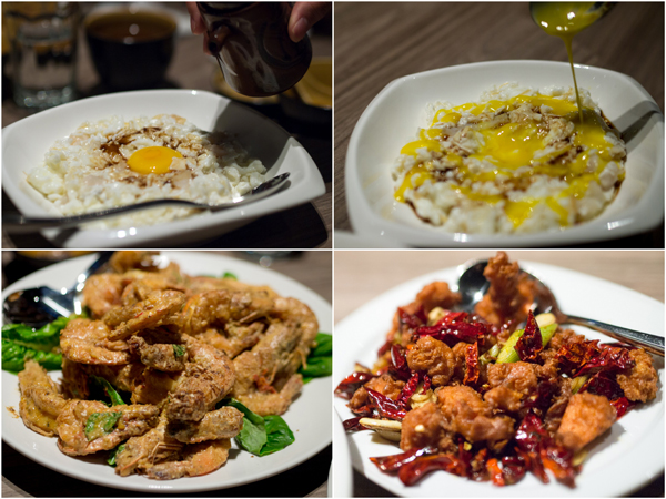 crab meat with egg white, crystal prawn with salted egg, spicy chicken with dried chili