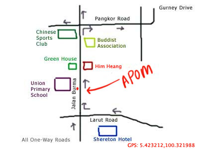 map of burma road, penang