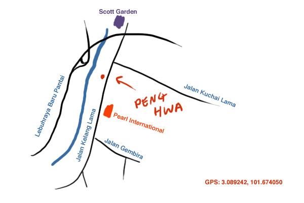 map to Peng Hwa restaurant at Old Klang Road