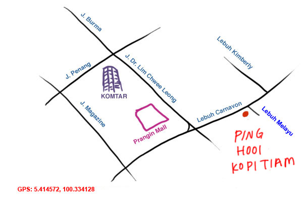 map to Ping Hooi kopitiam, Penang