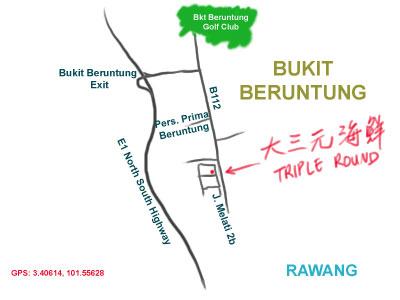 map to restaurant Triple Round at Bukit Beruntung