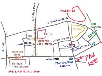 map to restaurant Pau Kee