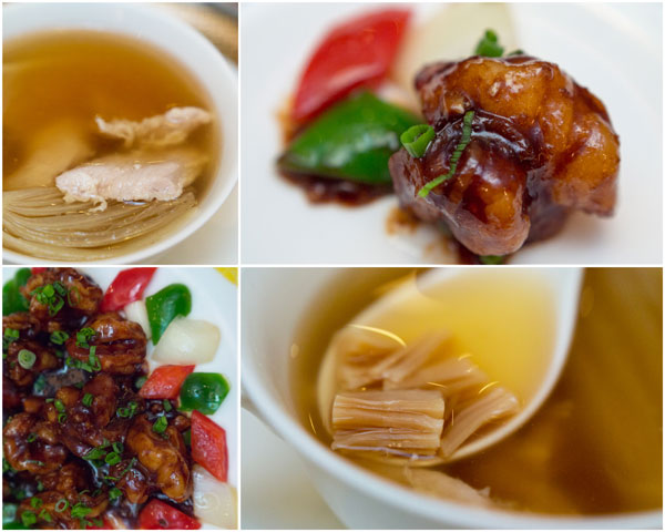 double boiled chicken soup, stir fry prawn with supreme soya sauce