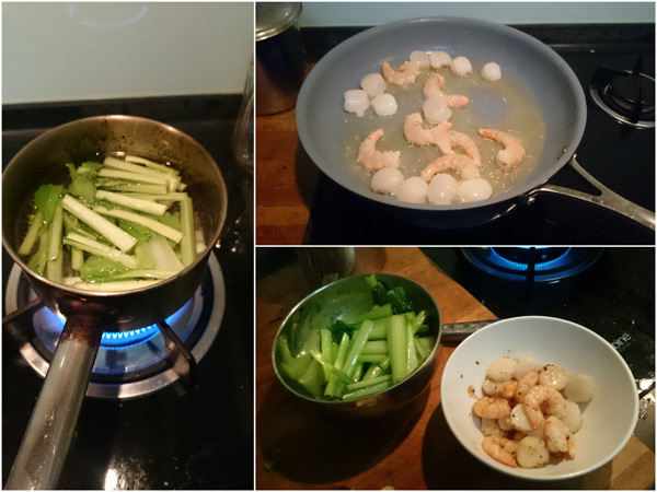 boil the vegetable, and pan fry the seafood separately