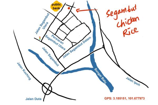 map to segambut chicken rice