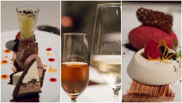 desserts - chef Filippo's Sicilian cassata and orange granita, or Szechuan pepper panna cotta, Barone Ricasoli Castello di Brolio Vin Santo DOCG 2004
