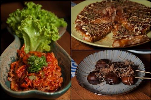 kimchi, okonomiyaki (Japanese pancake/pizza), mushroom