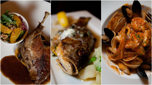 duck confit, grilled baby snapper, seafood marinara