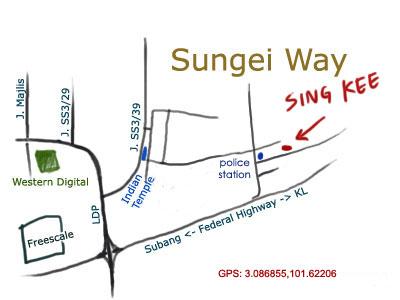 map to Sungai Way Sing Kee