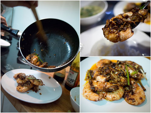 there you go, classic fried prawns with soya sauce