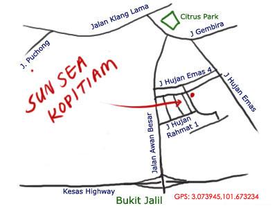 map to Sun Sea kopitiam at OUG