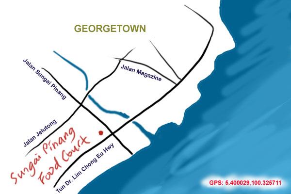map to Sungai Pinang food court