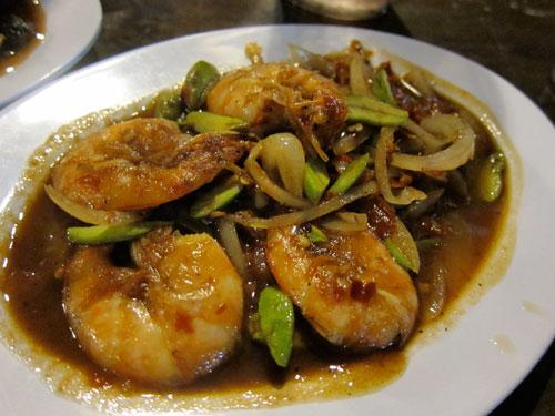 petai udang (bitter bean with prawns)
