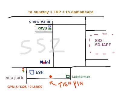 map to Tien Pin restaurant, PJ SS 2