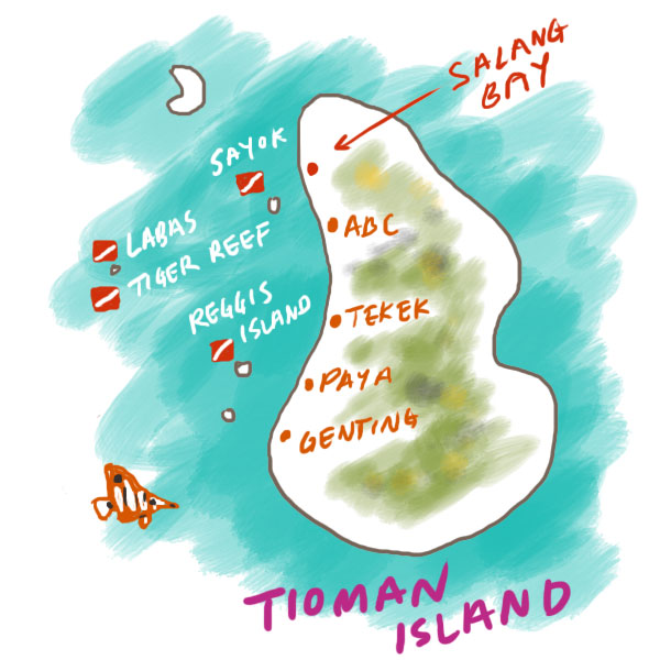 we dived in these four sites around Tioman island