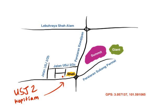 map to USJ 2 kopitiam
