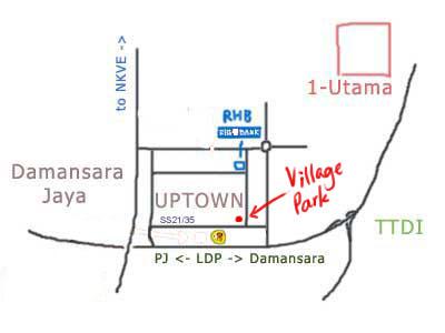 map to Village Park nasi lemak at Damansara Uptown, PJ