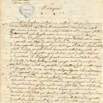 Lettre de l'abbé François-Xavier Dufaux à Mgr Jean-François Hubert, évêque coadjuteur de Qébec, Détroit, 24 août 1787 (page 1). (Photo: Archives de l'Archidiocèse de Québec)