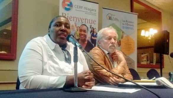 Julie Mbengi Lutete lors du forum régional du Réseau de soutien en immigration francophone du Centre-Sud-Ouest.