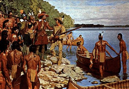 Samuel de Champlain et Étienne Brûlé arrivant chez les Hurons-Wendats de la Baie Georgienne.
