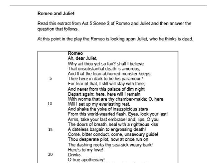Aqa English Literature Paper 1 Mock Romeo And Juliet
