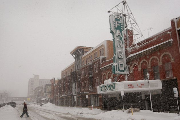 Snow falls in downtown in Fargo, North Dakota.