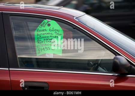 For sale sign in car window - Pennsylvania USA Stock Photo 74278804