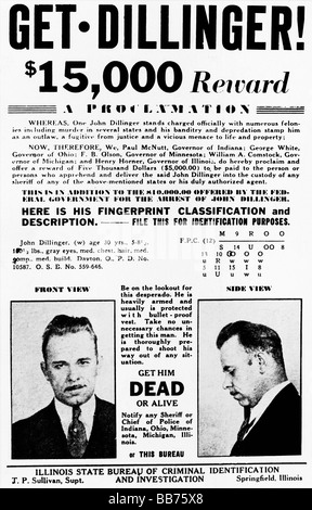 A John Dillinger wanted poster Stock Photo 130442503 - Alamy - criminal wanted poster