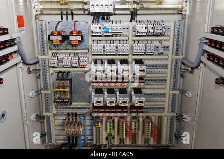 Switches in electrical fuse box Many black circuit breakers in a