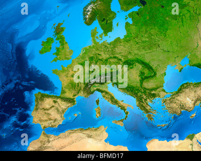 Earth globe showing European continent, 3D illustration Stock Photo
