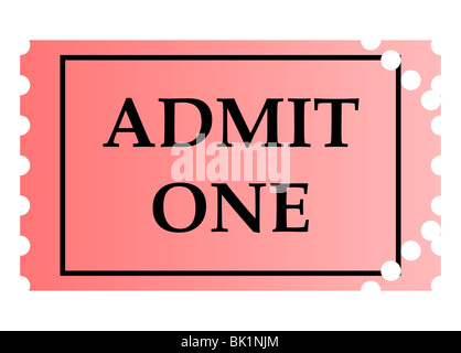 A pink cinema ticket to admit one adult isolated on a white Stock - admit one ticket template