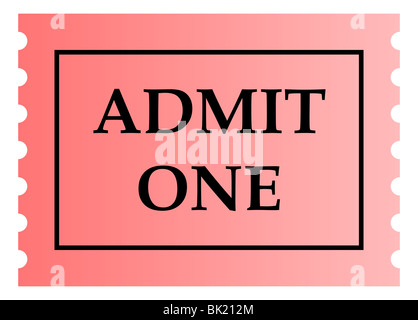 Admit one pink ticket template with copy space, isolated on white - admit one ticket template
