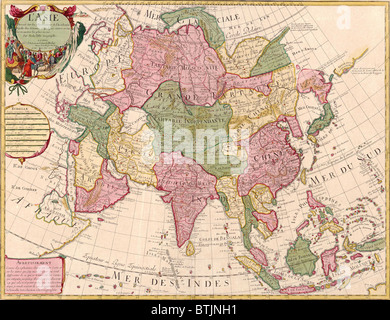 1700 French map of Asian continent and Islands of the East Indies