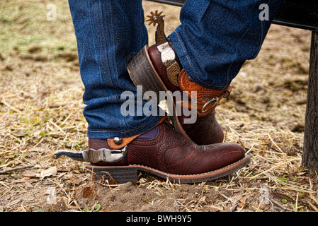 Jeans Cowboy Boots And Spurs Stock Photo 17370817 Alamy