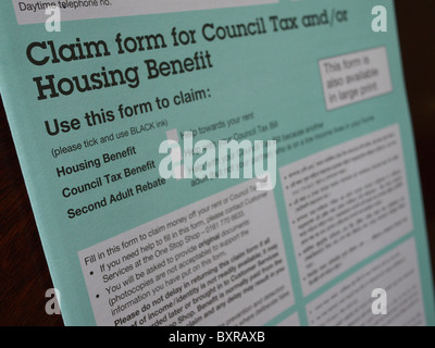 Claim form for housing and council tax benefit Stock Photo 53780471
