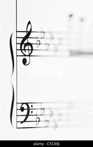 Bass clef on sheet music macro Stock Photo 310475197 - Alamy