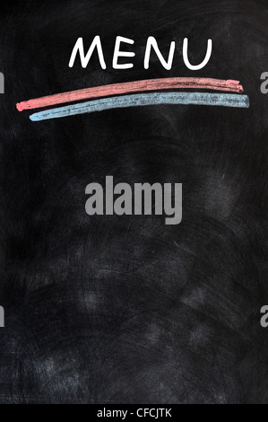 Blank menu on blackboard, handwriting letters and frame, vector