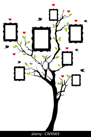 family tree with blank picture frames, vector illustration Stock