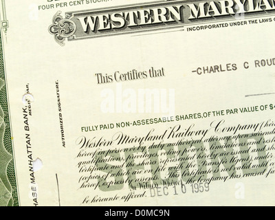 Share certificate of the Western Maryland Railway Company Company - Company Share Certificates