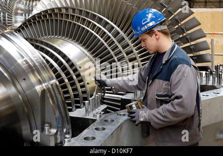 Oberhausen, Germany, industrial mechanic working on a steam turbine