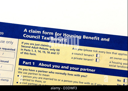 Council Tax and Housing Benefit form Stock Photo 33704899 - Alamy - housing benefit form