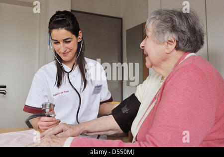 Hungarian trainee for geriatric nursing, Dora Fekete, walks through