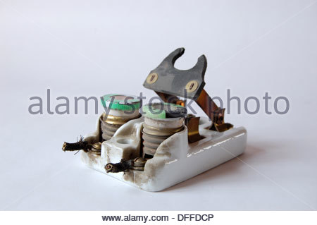 1950s vintage ceramic fuse box electrical circuit breaker with fuses