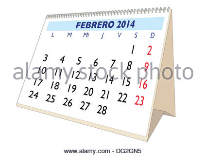 February sheet in an spanish desk Calendar for year 2019 Monthly