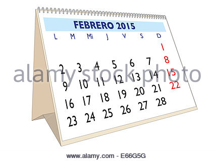 February month in an Spanish calendar Year 2013 3d render Stock