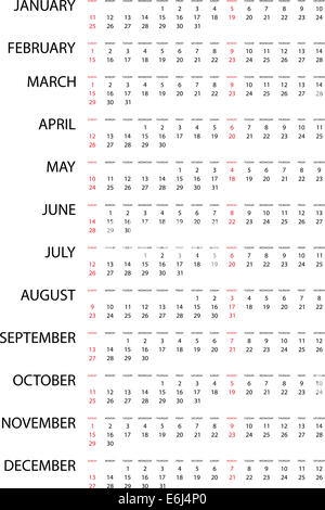 European 2015 year calendar with week starting from monday and solar