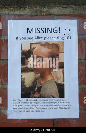 missing person flyer for alice gross, richmond upon thames, surrey - missing person flyer