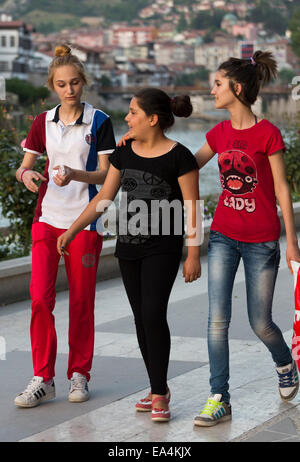 Modern Turkish Girl Strolling In Riverside Park, Amasya, Turkey   Modern  Turkis